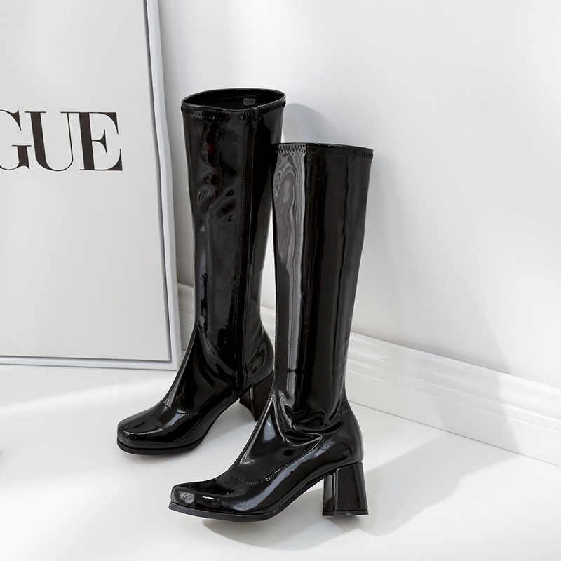 Parlak japanned deri uzun çizmeler kadın kalın yüksek topuklu mor sürme botas mujer yan fermuar kadın kış diz yüksek çizme s411