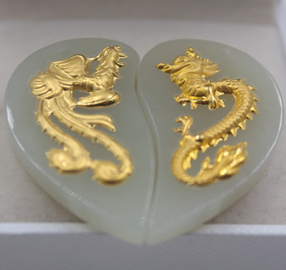 2 pièces Fin 24 K Or Jaune & Hetian Jade Pendentif En Forme De Coeur Dragon Phoenix Pendentif Amant