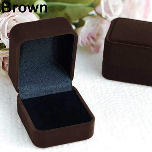Anillo de terciopelo para collar, pendiente de joyería, caja de exhibición de almacenamiento, caja tipo organizador, regalo, elegante caja de joyería cuadrada con durabilidad de terciopelo