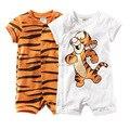 Лето 100% хлопок печати тигра с коротким рукавом маленькие дети детской одежды комбинезон