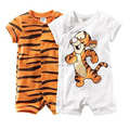 Summer 100% cotton print tiger short-sleeve small children's infant clothing romper