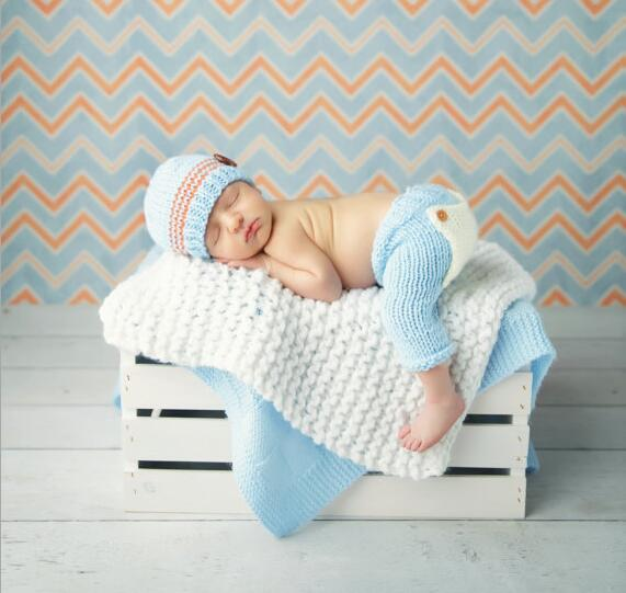 2016 Newborn baby crochet outfits accessories blue hat and pants sets baby beanie clothes newborn photography props 0-6month
