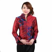 2017 Autumn New Chinese Women Satin Jacket Vintage Print Floral Coat Ladies Traditional Clothing Size M
