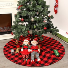 Non-woven Fabric Christmas Tree Skirt Aprons Red And Black Lattice  Christmas Tree Decoration For Home Xmas New Year все цены