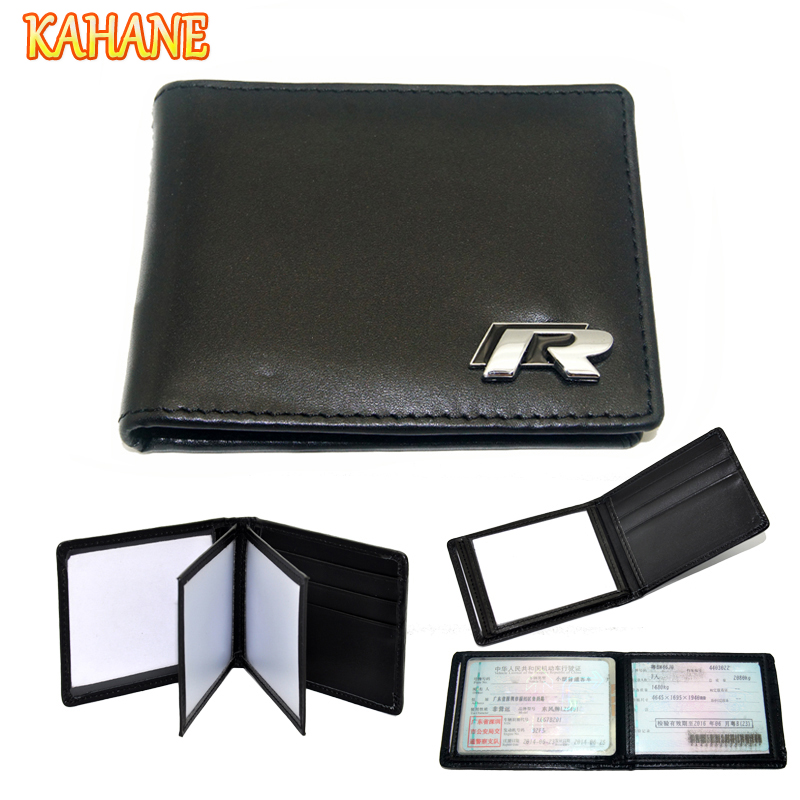 KAHANE R Logo Genuine Leather Car Drivers License Holder Credit Card Bag For VW Golf 5 6 7 Passat B6 B7 Jetta MK5 MK6 CC Tiguan 1 pc 3d chrome r r line badge logo emblem rline car stickers racing for vw golf 5 6 7 touareg tiguan passat b6 b7 jetta sharan