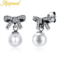 Ajojewel Fashion Shell Pearl Earrings White Bead 925 Sterling Silver Top Quality Bowknot Cute Jewelry For