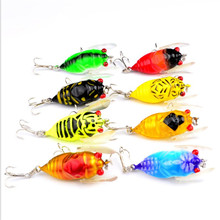 1PCS 4cm 5.9g Topwater Lifelike Insects Fishing Lure Cicada