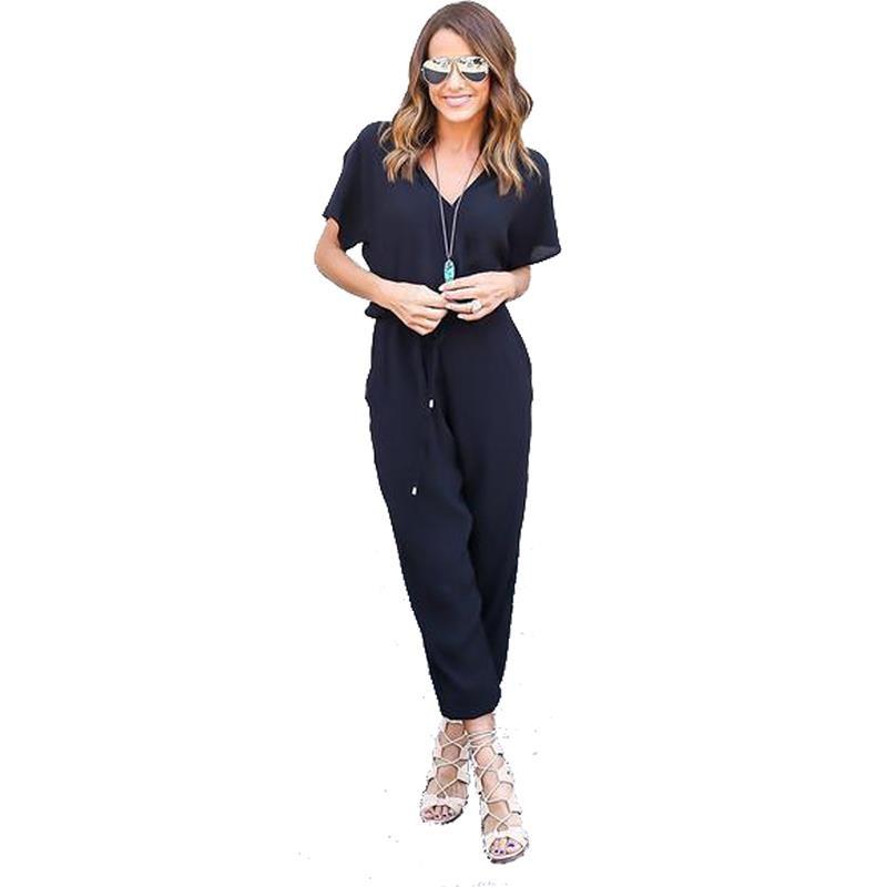 Spring Women Rompers Deep V Neck Long Pants Short Sleeve Elastic Waist Women Chiffon Jumpsuit 2017 Fashion LJ8519T