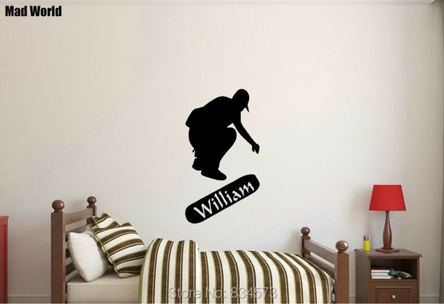 Mad world personalised name skateboard children wall art stickers wall decal home diy decoration removable