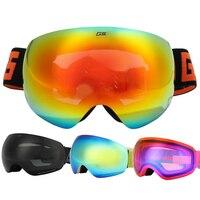 Gsou snow adult skiing goggles antimist big spherical ski eyewear snowboarding goggles can stuck myopia lens can change lens