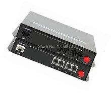 De alta Calidad de 4 Canales PCM de Voz Teléfono De Fibra Óptica Media Converter Con Ethernet FC monomodo 20Km