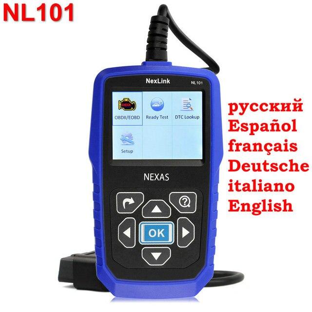 Nexlink NL101 OBD2 Сканер Код Неисправности Читатель Поддержка Все OBD2 CAN EOBD JOBD Escaner С Батарейным Монитор как AL519 Сканирования инструмент
