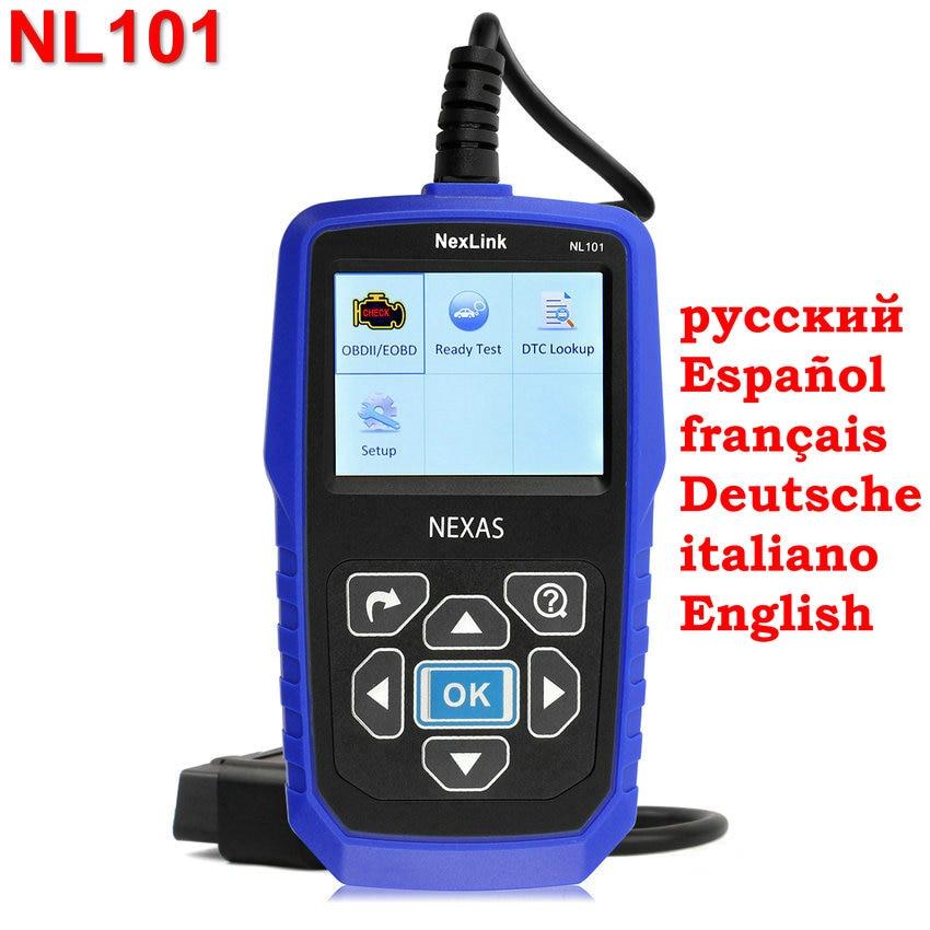 Prix pour Nexlink NL101 OBD2 Scanner Code de Défaut Lecteur Support Tous OBD2 PEUT EOBD JOBD Escáner Avec Batterie Moniteur comme AL519 Scan outil