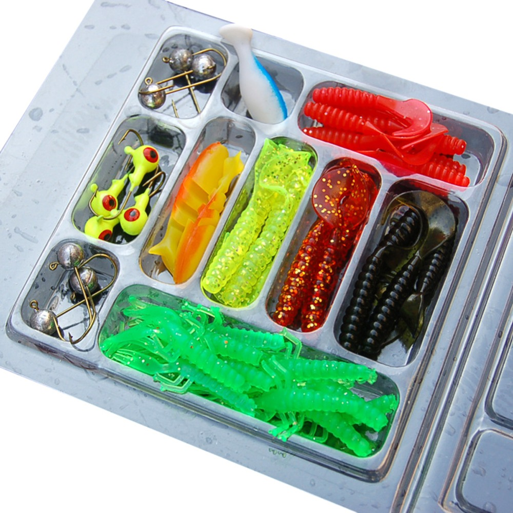 Fishing Lure Set 35Pcs Soft Worm Fishing Baits 10Lead Jig Head Hooks Sets / 50Pcs 50mm soft Lures Wholesale EA14