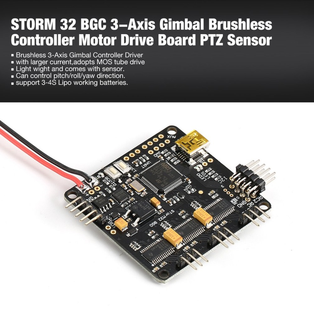 STORM 32 BGC 3-Axis 3-4S Gimbal Brushless Controller Motor Drive Board PTZ Sensor Plate for RC Racing FPV Drone Quadcopter ht hk free shipping new 2 axis bgc brushless camera gimbal gopro3 controller ptz aluminum full set of parts