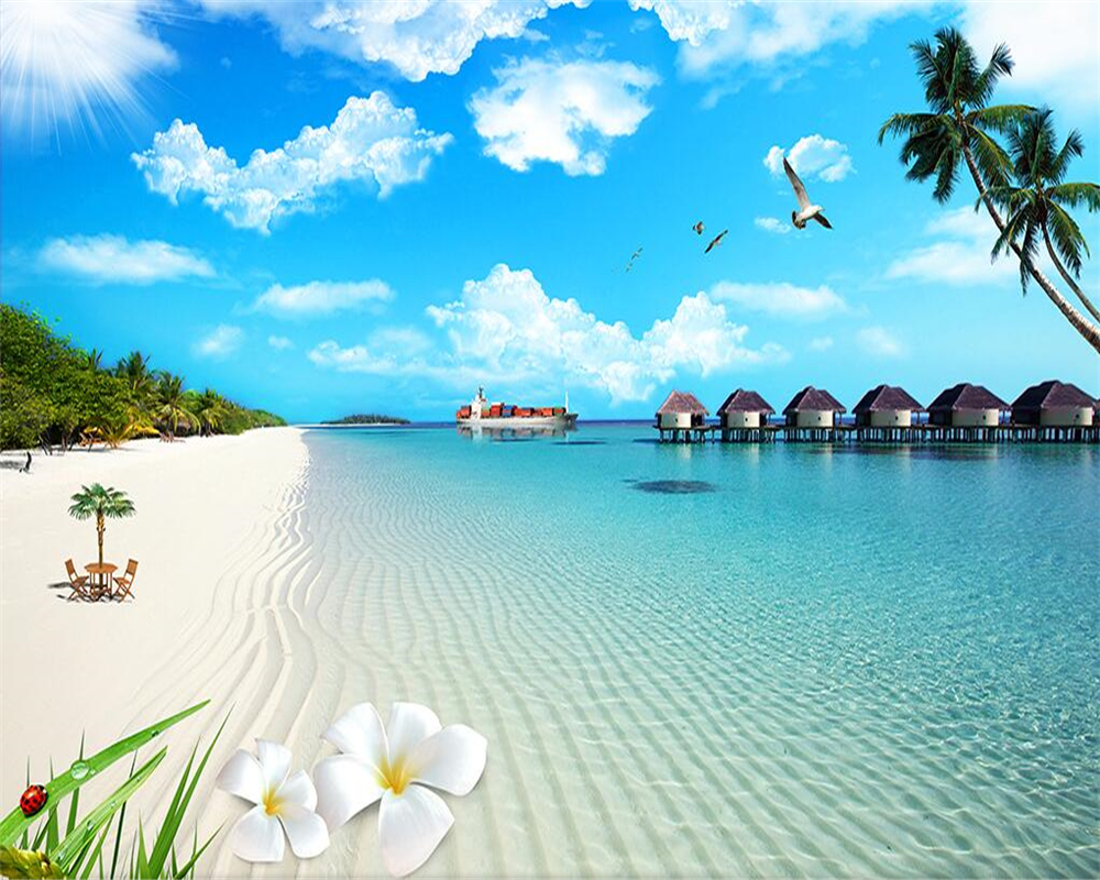 Beibehang Kustom Wallpaper Pemandangan  Alam Sun Lukisan