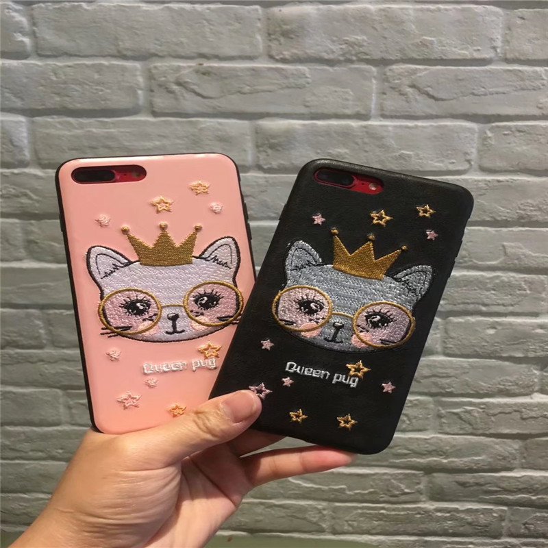 Luxury Handmade Embroidery Crown dog for Phone7 8 Case For iPhone 6 6SPlus 7 8Plus Leather Crown cat Case Cover for iphoneX 6 6s