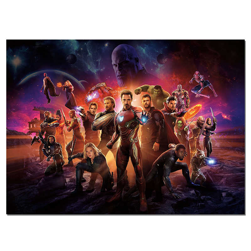 Avengers Movie Poster Superheroes Wall Poster Bedroom Decoration Silk Art Large Size Picture Hero