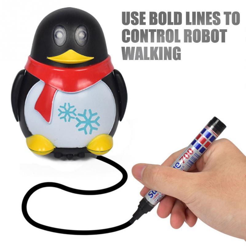 Induktive Auto Diecast Fahrzeug Magie Stift Spielzeug Cartoon Roboter pinguin Folgen Jede Linie Sie Ziehen Weihnachten Geschenke für Kind