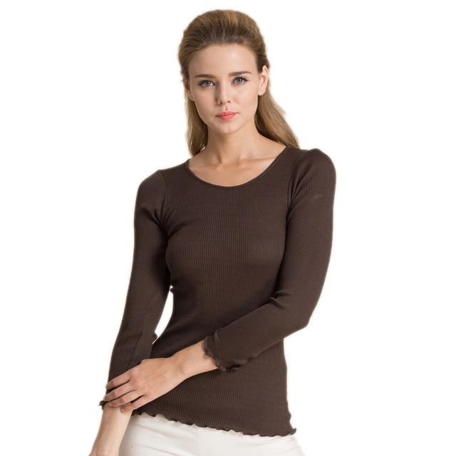 70% de Seda De 30% Algodão T-shirt das Mulheres Femme Magro Completo Manga Mulheres Assentamento Selvagem Feminino Elástica Camiseta Tops Sem Spandex