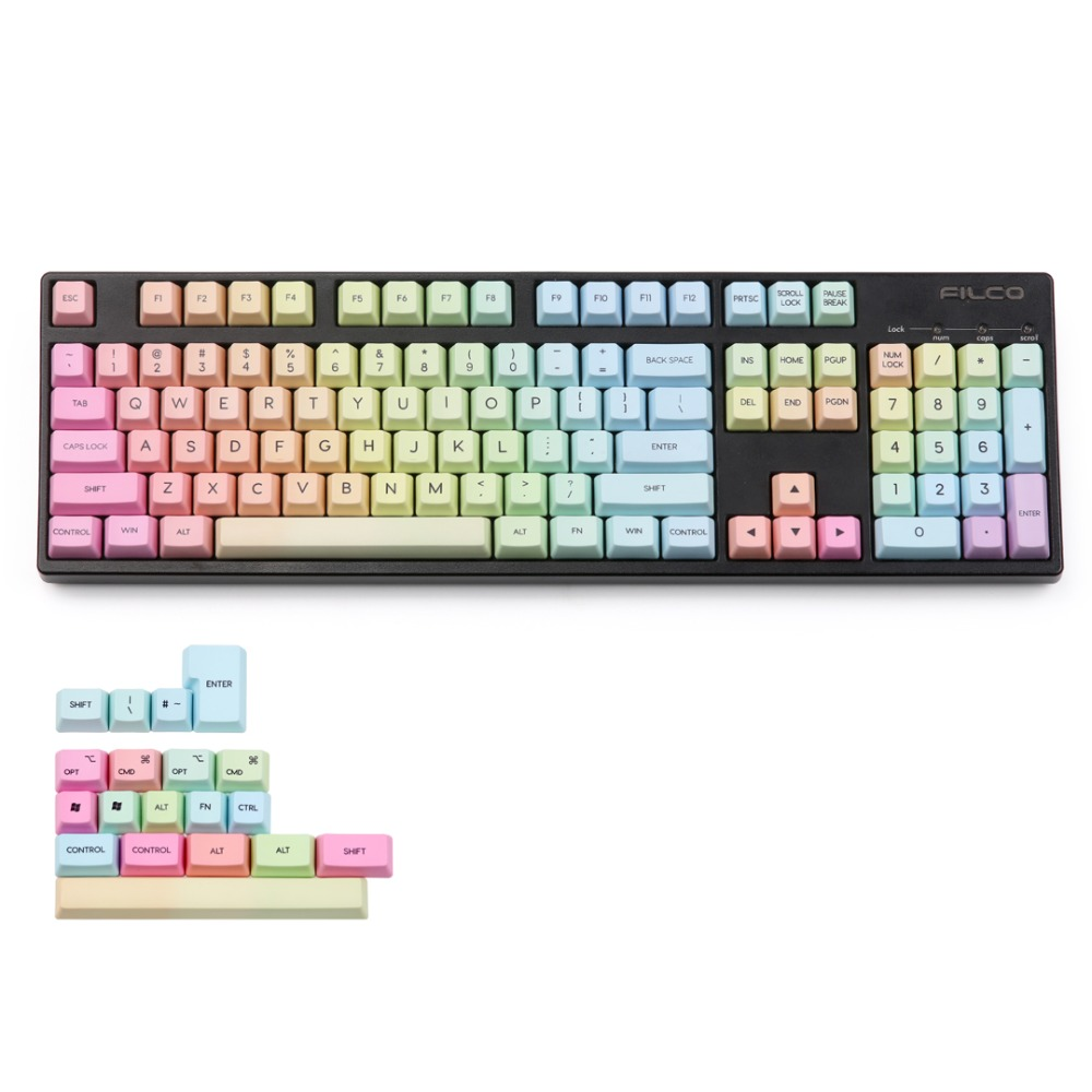 Rainbow keycap OEM Dye subbed 123 Keys with MAC for Cherry mx Mechanical Keyboard