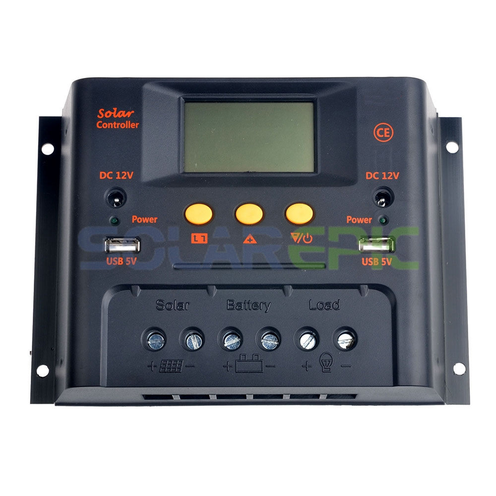 PWM 60A Solar Charge Controller 12V/24VDC AUTO Regulator Battery Charge Light & Timer Function Solar Charger 20a pwm duo battery solar panel charge controller regulator 12v 24vdc with remote meter mt1 control solar charger