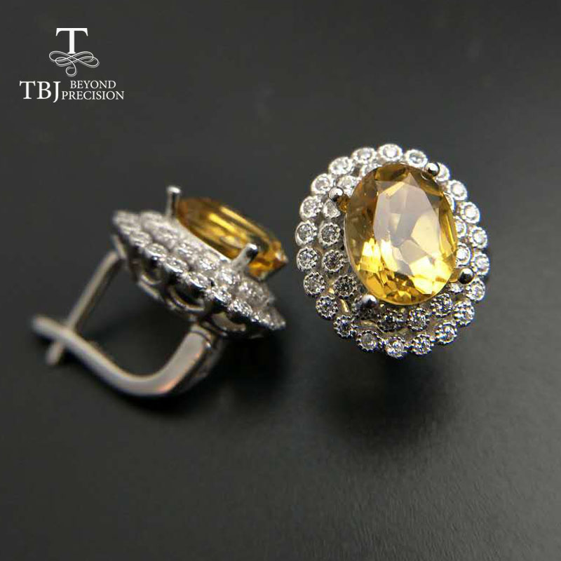 TBJ Clasp earring with natural good color citrine in 925 sterling silver jewelry natural gemstone earring