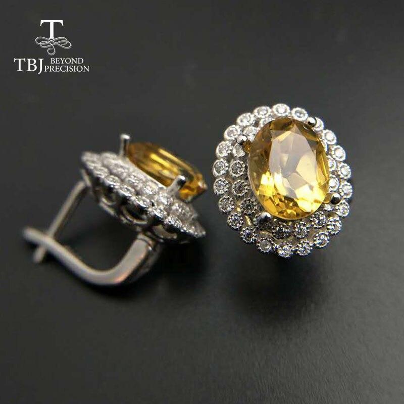 TBJ, boucle d'oreille fermoir avec citrine naturelle de bonne couleur en argent sterling 925 bijoux, boucle d'oreille en pierres précieuses naturelles, design classique
