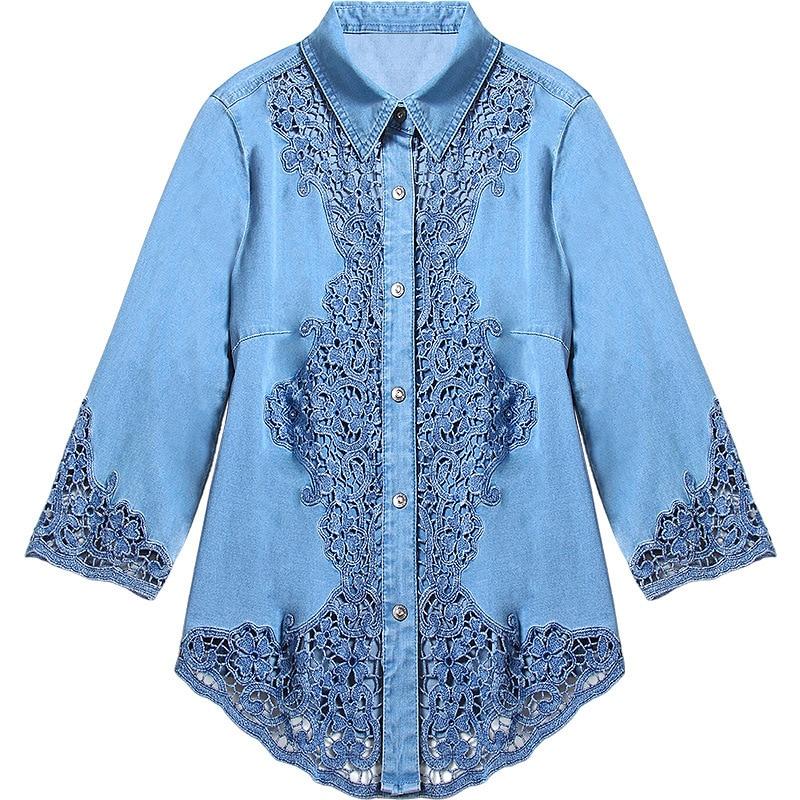 Blusa de encaje de alta calidad 2019 Primavera Verano Sexy camisa de encaje mujeres arco Collar de manga larga blusa púrpura camisa femenina Sexy tops - 5