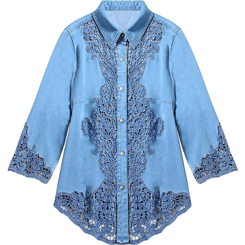 G495017 Women Blouse Lace Shirt Female Long sleeved Spring V neck Temperament Blouse Shirt Solid Causal Tops - 5