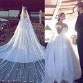 Romântico Flor Artesanal Vestidos de Noiva Líbano Dupla Com Decote Em V Aberto Para Trás Vestidos de Noiva 2016 Plus Size Custom Made Vestidos de Casamento