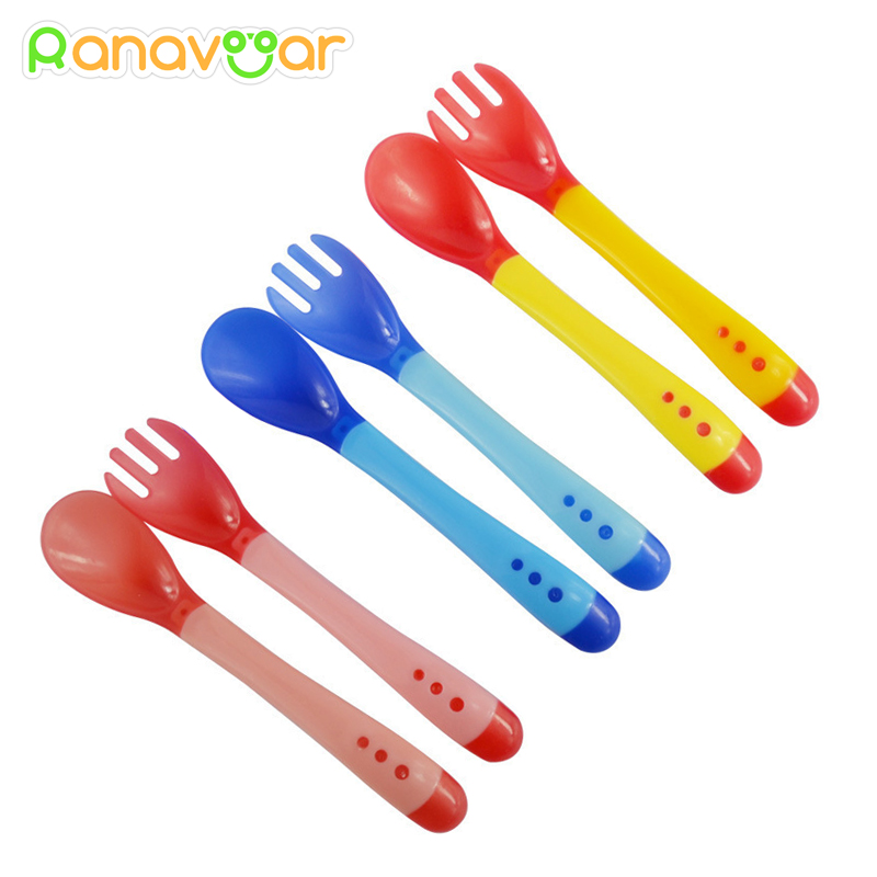 2pcs/set New Handy Heat Sensing Thermal Spoon Baby Kids Weaning Silicone Head Tableware
