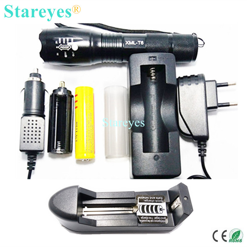 1 Set Ultra Bright CREE XML-T6 4000LM LED Torch lamp Zoomable light LED Flashlight+18650 5000mAh Rechargeable battery + Charger