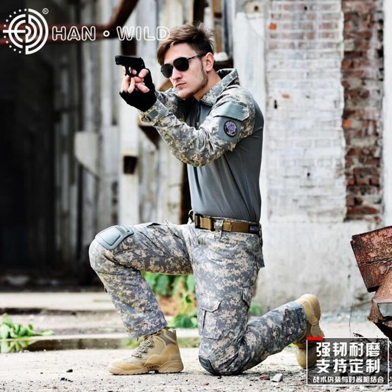 Militaire Armée uniforme de combat Tactique Camouflage vêtements de chasse Ghillie Suit Woodland Airsoft Paintball Costumes Avec genou coude