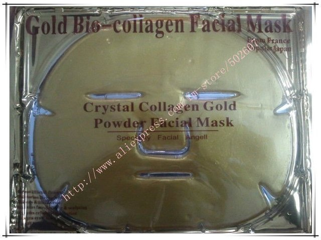 Hot Sale 50pcs/lot Gold Crystal Collagen Facial Mask Face Masks DHL Free delivery