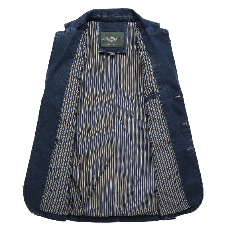 LONMMY Jeans blazer kişilər 80% Pambıqlı Cowboy pencək denim - Kişi geyimi - Fotoqrafiya 3