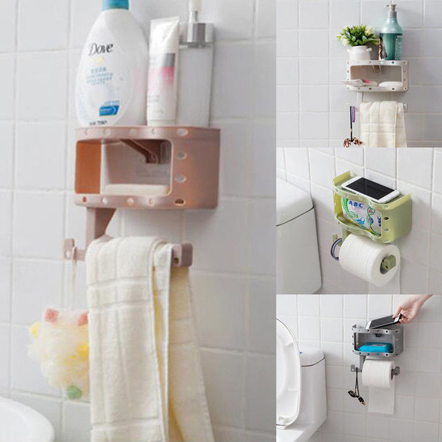 Creative Toilet Paper Roll Holder Rack Bathroom Tissue Shelf Wall