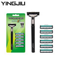 High Quality YINGJILI YE-216 Double Layers Razor Blades Men Washable  Safety Manual Handle Shaving Razor Holder with 6 Blades