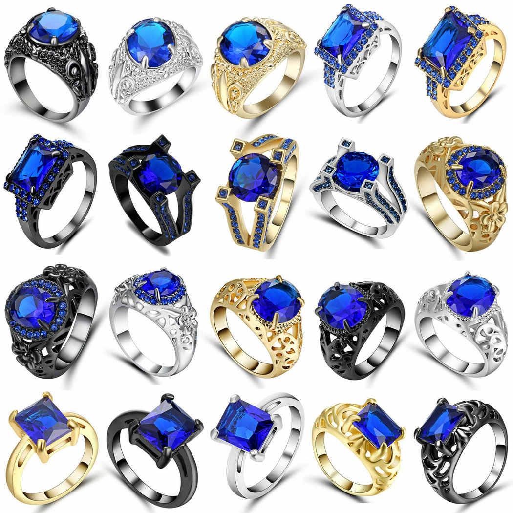 Chất Lượng hàng đầu Công Chúa Kate Đá Quý Màu Xanh Pha Lê Bạc Vàng Đen Màu Wedding Finger Pha Lê Vòng Nhãn Hiệu Trang Sức cho Phụ Nữ Kích Thước 9