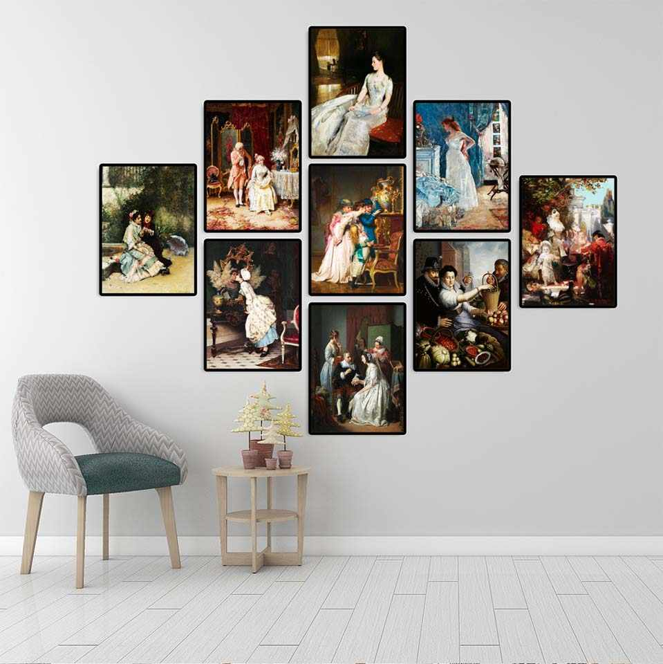 Home Decoration Wall Art Canvas Poster Bedroom Print Canvas Paintings European style palace painting life of noble ladies