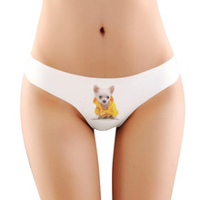 3d printing Cute dog chihuahua Underwear Women Panties Sexy Ice silk Lingerie Seamless font b Intimates