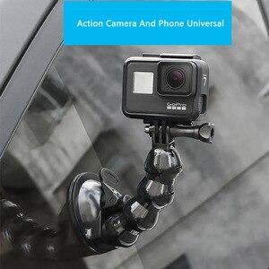 Image 5 - 흡입 컵 GoPro 영웅을위한 자동차 마운트 8 7 6 5 4 Insta360 Yi 4k Go pro 카메라 SJcam SJ4000 DJI AKASO EKEN with Safety Tether