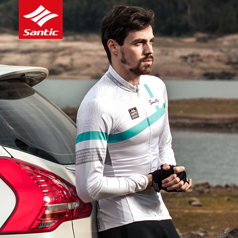 Santic 2018 New Men Long Sleeve Cycling Jerseys Breathable MTB Road Bike Top Jersey Autumn/ Winter Bicycle Riding Sport Clothing