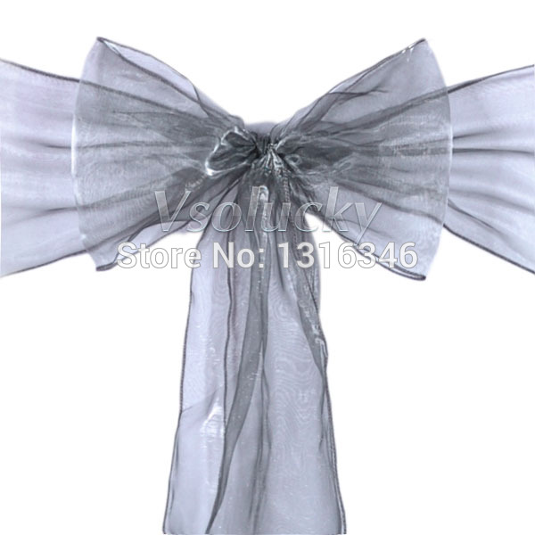 100pcs/lot Gray / Dark Silver Sheer Organza Chair Sashes Bow Cover Wedding party Xmas Birthday Shower Decoration-in Sashes from Home u0026 Garden on ...  sc 1 st  AliExpress.com & 100pcs/lot Gray / Dark Silver Sheer Organza Chair Sashes Bow Cover ...