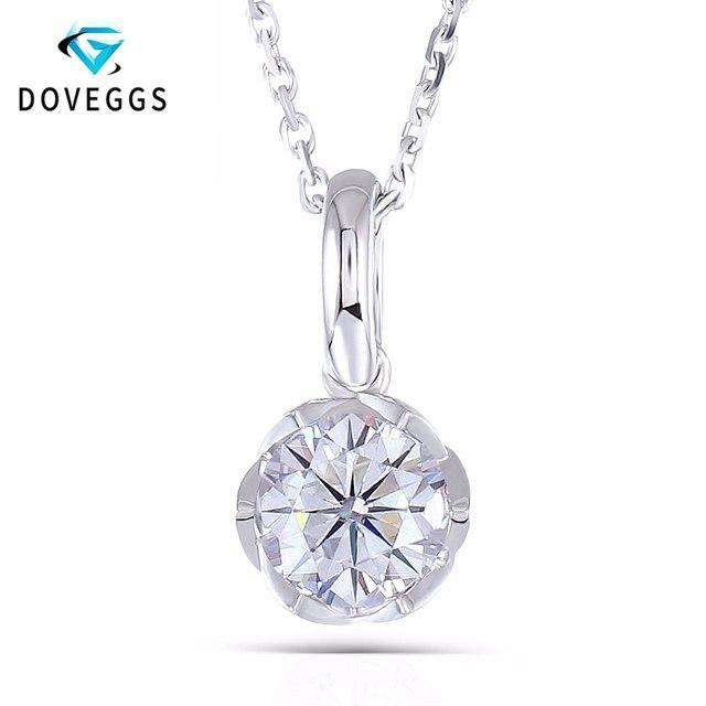 DovEggs 14K สีขาวทอง 585 6.5MM 1 กะรัต F สี Moissanite Round Brilliant ตัดดอกไม้รูปสร้อยคอจี้สำหรับสตรี