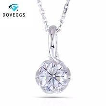 DovEggs 14K białe złoto 585 6.5MM 1 Carat F kolor Moissanite okrągły Brilliant cięcia w kształcie kwiatu naszyjnik dla kobiet
