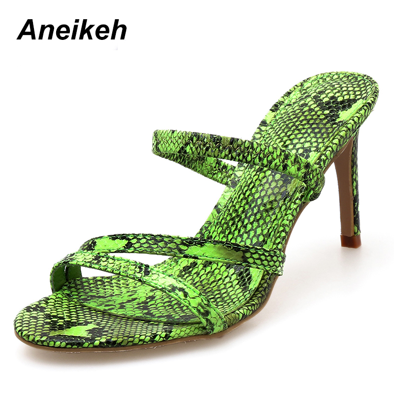 Aneikeh 2019 New High heeled Snakeskin Pattern Ladies Slipper Shallow Mouth With Hollow High Heels Sexy Open Toe Slippers GreenAneikeh 2019 New High heeled Snakeskin Pattern Ladies Slipper Shallow Mouth With Hollow High Heels Sexy Open Toe Slippers Green