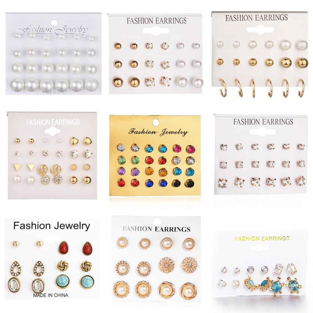 24 pcs/set Heart Flowers Vintage Gold Stud Earrings Set 2019 New Crystal imitation Pearl Earrings for Women Gift on Ear Jewelry gold earrings for women