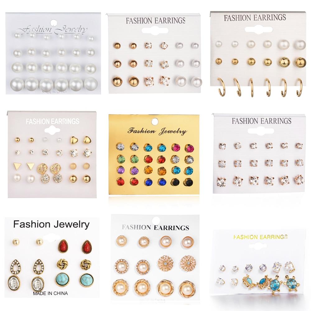 24 pcs set Heart Flowers Vintage Gold Stud Earrings Set 2019 New Crystal imitation Pearl Earrings for Women Gift on Ear Jewelry in Stud Earrings from Jewelry Accessories