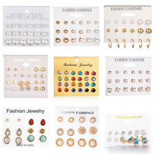 24 pcs/set Heart Flowers Vintage Gold Stud Earrings Set 2019 New Crystal imitation Pearl Earrings for Women Gift on Ear Jewelry(China)